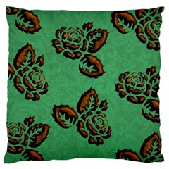 Chocolate Background Floral Pattern Large Cushion Case (two Sides)