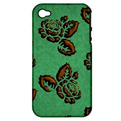 Chocolate Background Floral Pattern Apple Iphone 4/4s Hardshell Case (pc+silicone)