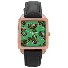 Chocolate Background Floral Pattern Rose Gold Leather Watch