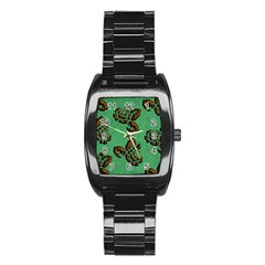 Chocolate Background Floral Pattern Stainless Steel Barrel Watch