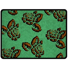 Chocolate Background Floral Pattern Double Sided Fleece Blanket (large)