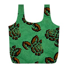 Chocolate Background Floral Pattern Full Print Recycle Bags (l)
