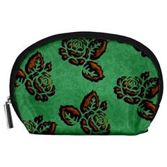 Chocolate Background Floral Pattern Accessory Pouches (large)