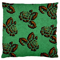 Chocolate Background Floral Pattern Large Flano Cushion Case (one Side)