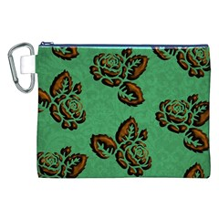 Chocolate Background Floral Pattern Canvas Cosmetic Bag (xxl)
