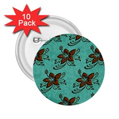 Chocolate Background Floral Pattern 2 25  Buttons (10 Pack)