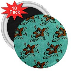 Chocolate Background Floral Pattern 3  Magnets (10 Pack)