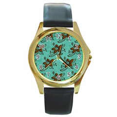 Chocolate Background Floral Pattern Round Gold Metal Watch