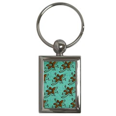 Chocolate Background Floral Pattern Key Chains (rectangle)