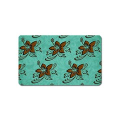 Chocolate Background Floral Pattern Magnet (name Card)