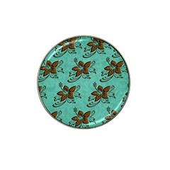 Chocolate Background Floral Pattern Hat Clip Ball Marker