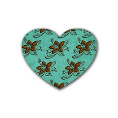 Chocolate Background Floral Pattern Heart Coaster (4 Pack)
