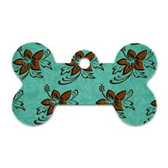 Chocolate Background Floral Pattern Dog Tag Bone (two Sides)