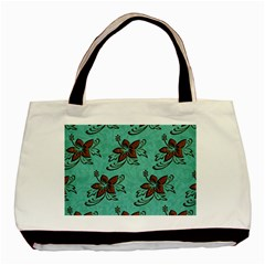 Chocolate Background Floral Pattern Basic Tote Bag (two Sides)