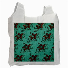 Chocolate Background Floral Pattern Recycle Bag (two Side)