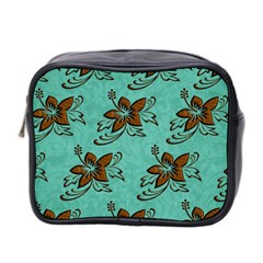 Chocolate Background Floral Pattern Mini Toiletries Bag 2 Side