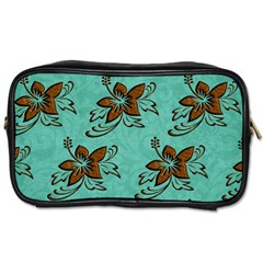 Chocolate Background Floral Pattern Toiletries Bags 2 Side