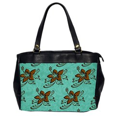 Chocolate Background Floral Pattern Office Handbags (2 Sides)