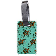 Chocolate Background Floral Pattern Luggage Tags (one Side)
