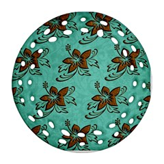 Chocolate Background Floral Pattern Ornament (round Filigree)