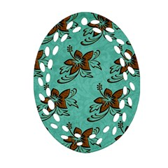 Chocolate Background Floral Pattern Oval Filigree Ornament (two Sides)