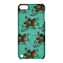 Chocolate Background Floral Pattern Apple Ipod Touch 5 Hardshell Case With Stand