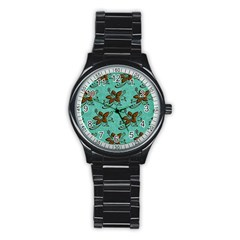 Chocolate Background Floral Pattern Stainless Steel Round Watch