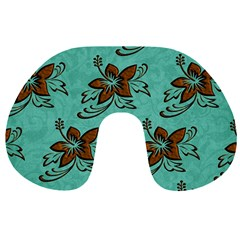 Chocolate Background Floral Pattern Travel Neck Pillows
