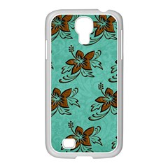 Chocolate Background Floral Pattern Samsung Galaxy S4 I9500/ I9505 Case (white)