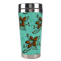 Chocolate Background Floral Pattern Stainless Steel Travel Tumblers