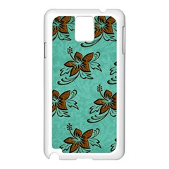 Chocolate Background Floral Pattern Samsung Galaxy Note 3 N9005 Case (white)