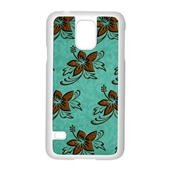 Chocolate Background Floral Pattern Samsung Galaxy S5 Case (white)