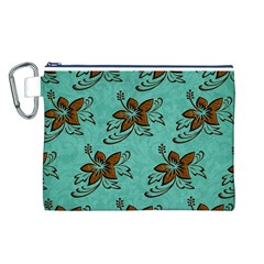 Chocolate Background Floral Pattern Canvas Cosmetic Bag (l)