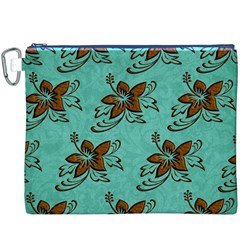 Chocolate Background Floral Pattern Canvas Cosmetic Bag (xxxl)