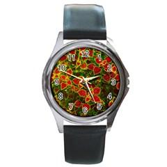 Flower Red Nature Garden Natural Round Metal Watch