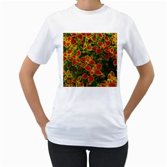 Flower Red Nature Garden Natural Women s T Shirt (white) (two Sided)