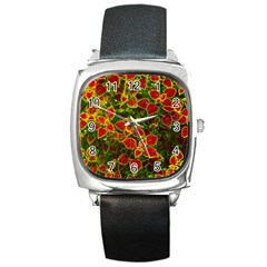 Flower Red Nature Garden Natural Square Metal Watch