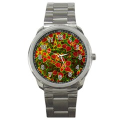 Flower Red Nature Garden Natural Sport Metal Watch