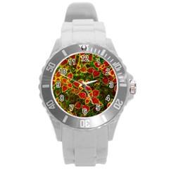 Flower Red Nature Garden Natural Round Plastic Sport Watch (l)
