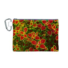 Flower Red Nature Garden Natural Canvas Cosmetic Bag (m)