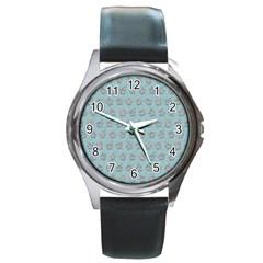 Texture Background Beige Grey Blue Round Metal Watch