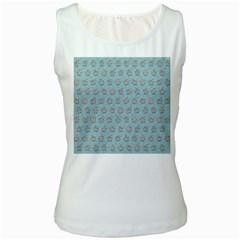 Texture Background Beige Grey Blue Women s White Tank Top