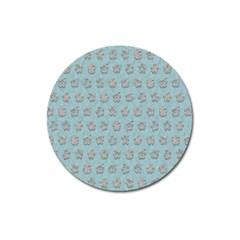 Texture Background Beige Grey Blue Magnet 3  (round)