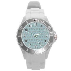 Texture Background Beige Grey Blue Round Plastic Sport Watch (l)