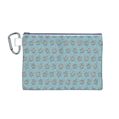 Texture Background Beige Grey Blue Canvas Cosmetic Bag (m)