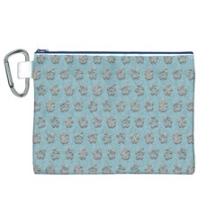 Texture Background Beige Grey Blue Canvas Cosmetic Bag (xl)
