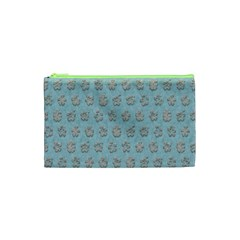 Texture Background Beige Grey Blue Cosmetic Bag (xs)