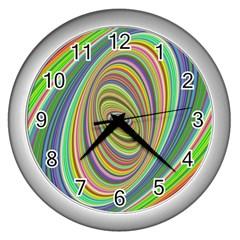 Ellipse Background Elliptical Wall Clocks (silver)