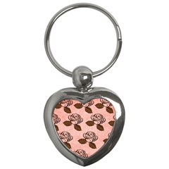 Chocolate Background Floral Pattern Key Chains (heart)