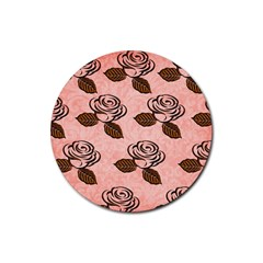Chocolate Background Floral Pattern Rubber Round Coaster (4 Pack)